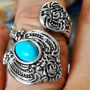 Native-American-Indian-Jewelry-Silver-Flower-Turquoise-Open-Ring-Adjustable