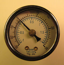 "LIVE STEAM WIKA 0 TO 30"" Hg /VACUUM GAUGE 2"" DIAL~ Back Tap - NEW"