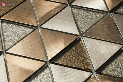 Glasmosaik Edelstahl Mosaikfliesen glänzend Matt Bronze Silber 15x30 cm Muster