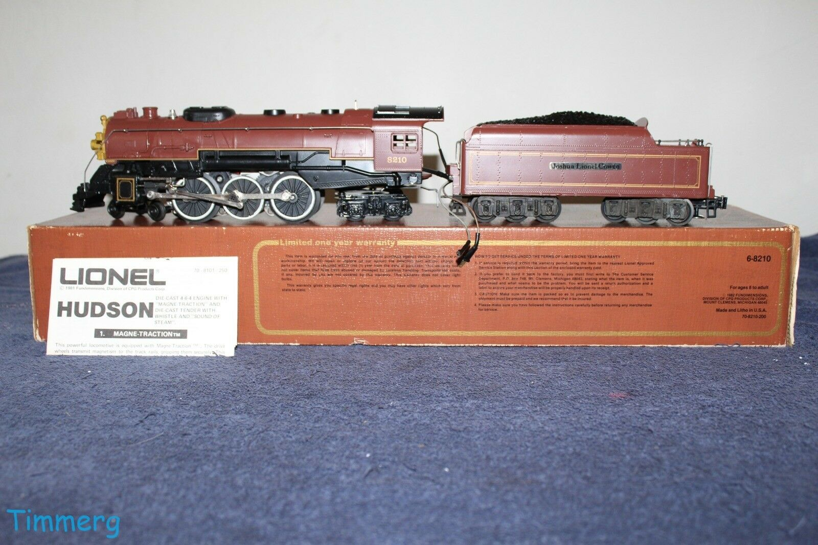 Lionel 6-8210 Joshua Lionel Cowen 4-6-4 Hudson Steam Locomotive & Tender