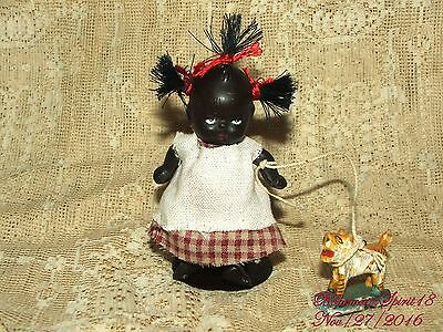 ANTIQUE BLACK AMERICANA MINIATURE GIRL BISQUE DOUBLE JOINTED OLD TOY 3.5'' DOLL