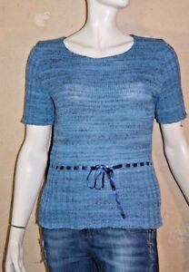 SAINT-JAMES-Taille-L-40-Superbe-pull-manches-courtes-bleu-femme-pullover