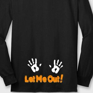 Details About LET ME OUT! Maternity Baby Funny T Shirt Pregnant Halloween  Cute Long Sleeve Tee