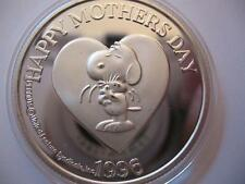 1-OZ.999 SILVER RARE ENGRAVABLE 1996 VINTAGE PEANUTS MOTHERS DAY HEART COIN+GOLD