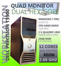 Dell T5500 Workstation 24GB 2TB 12 CORE Xeon 2.6 GHz Windows 7 64 Quad 4 Monitor