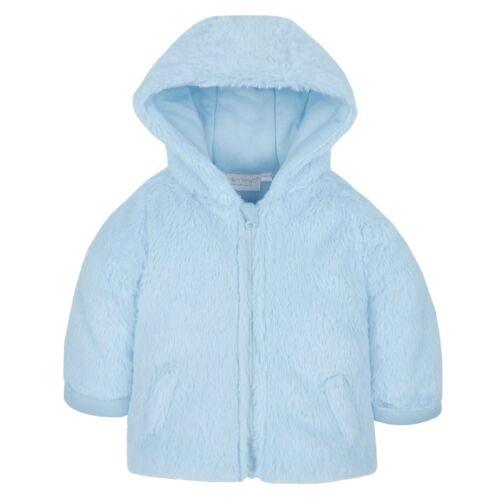 Baby Coat Jacket Hooded Snuggle Fleece Pink Blue Grey White 3-6 6-9 9-12 Months