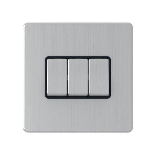 Sans vis satin chrome interrupteur lumière 10 amp 1g2g3g4g6g 2 voie intermédiaire