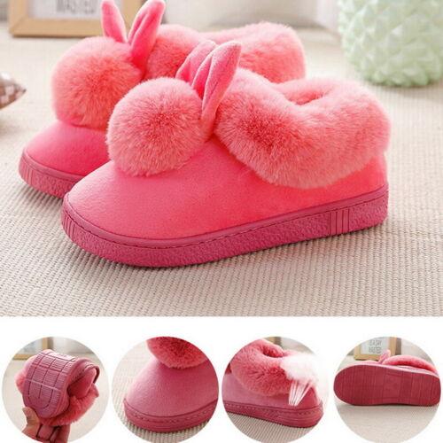 Women Bunny Rabbit Plush Slippers Winter Warmer Indoor Slip On Soft Home Shoes //