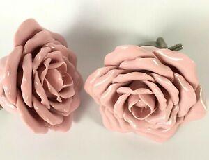 Pottery Barn Kids Ceramic Flower Curtain Rod Finials Pink