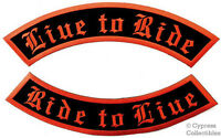 Live To Ride Two Embroidered Patch Large Rocker Patches Black/orange Iron-on