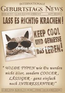 Gluckwunschkarte Happy Birthday Grusskarte Geburtstag Katze