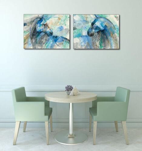 Paloma Keilrahmen-Bild Leinwand Pferd blau abstrakt modern Albena Hristova