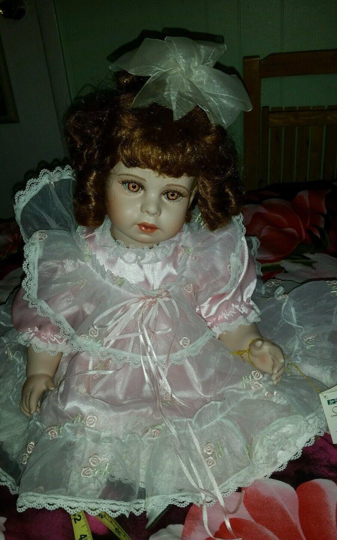 Thelma Resch 22  sitting toddler doll marróne hair eyes rosadodo dress porcelain gc