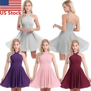 US-Women-elegant-Chiffon-Bridesmaid-Dress-Evening-Prom-Gown-Cocktail-Short-Dress