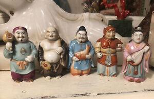 5 Rare Vintage Japan Toshikane Arita Porcelain Figurines not Salt Pepper Shakers