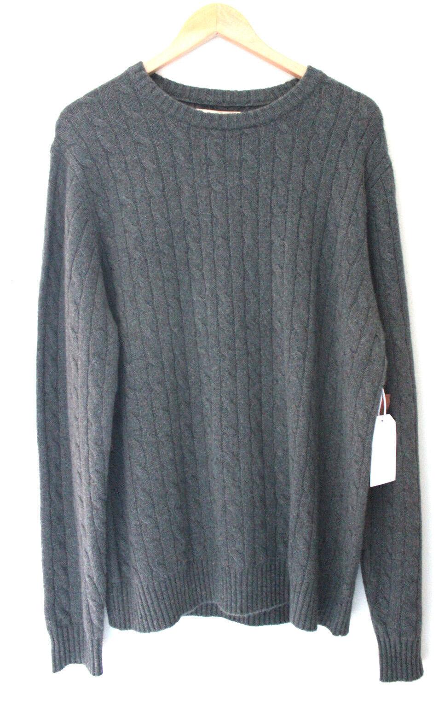 Nuevo con etiquetas Elliot Mulryan  100% Cachemir verde Para Hombre Suéter Clásico De Cable De punto Xl  298  tienda