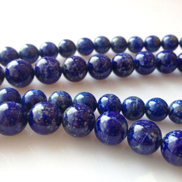 """4 6 8 10 12 14 MM Natural Indigo Lapis Lazuli Round Gemstone Loose Beads 15"""""""
