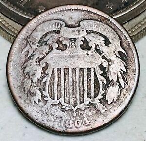 1864 Two Cent Piece 2C Ungraded Choice Civil War Date Good US Copper Coin CC7007