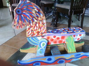 Cavallo A Dondolo Artigianale.Dettagli Su Cavallo A Dondolo Cavallino In Legno Artigianale Cm 80x80x23 Dipinto A Mano