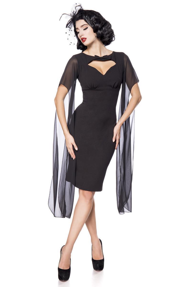 Retro-Kleid Belsira Herzausschnitt Cutout Zierschleife Langarm Jersey Netz 50107