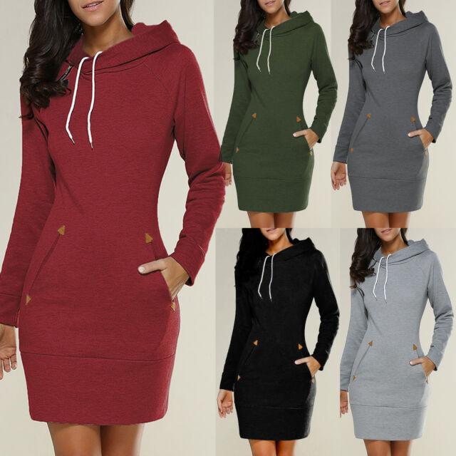 Womens Ladies Hooded Sweatshirt Long Sleeve Sweater Hoodies Jumper Mini Dress