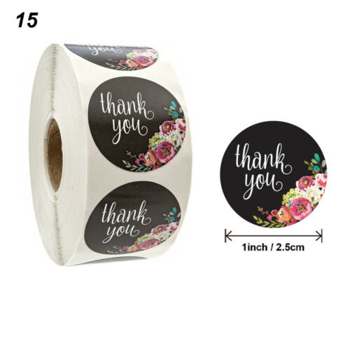 500Pcs Thank You Stickers Roll Heart Shape Gold Foil Envelope Seals Wedding Gift