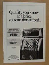 vintage magazine advert 1988 MESA BOOGIE