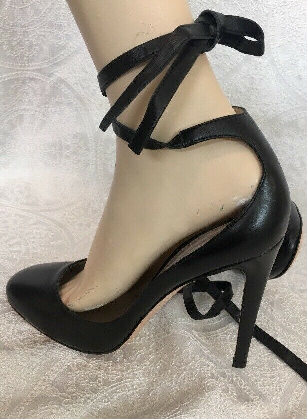Gianvito Rossi shoes Black Leather Wraparound Tie Round Round Round Toe Size 40 New 8703d9