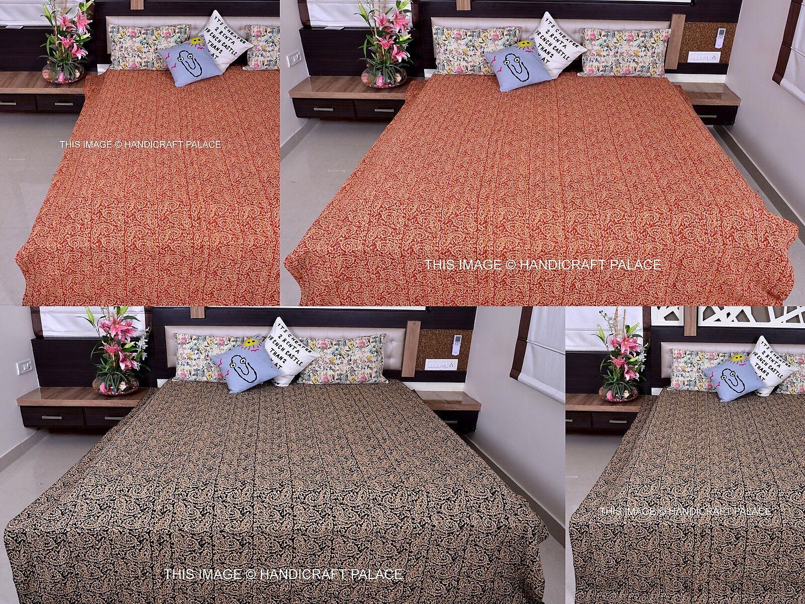 Indian Cotton Queen Quilt Paisley Design Kantha Work Bedspread Blanket Throw