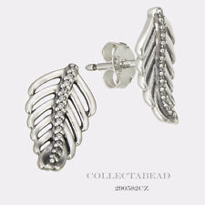 Authentic Pandora Silver Shimmering Feathers Clear CZ Stud Earrings 290582CZ