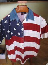 WOMEN'S SHIRT-AMERICAN FLAG PRINT-QUIZZ WOMAN &CO. BRAND-16-PATRIOTIC AMERICAN