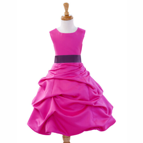 QUINCEANERA FUCSIA DRESS FLOWER GIRL TODDLER WEDDING PAGEANT 2 4 6 8 10 12 14 16