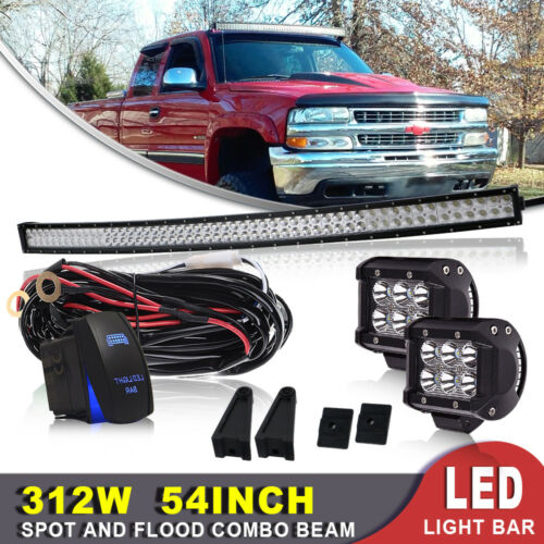 52inch Dual-Row Curved 312W LED Light Bar Spot Flood Offroad+Wiring Kit 54