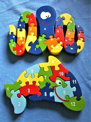 Aggressivo In Scatola Due In Legno Sealife Puzzle: Delfino 12 Pezzi, Octopus 26 Pezzi-mostra Il Titolo Originale Colore Veloce