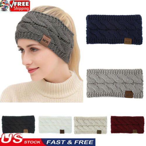 USA Women Fashion Winter Solid Color Wool Knitted Hair Band Sports Headband