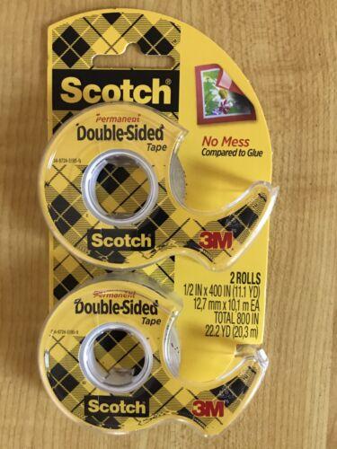 3M Scotch Double Sided Tape Permanent 2 rolls #137DM-2 1//2 in x 400 in NIP