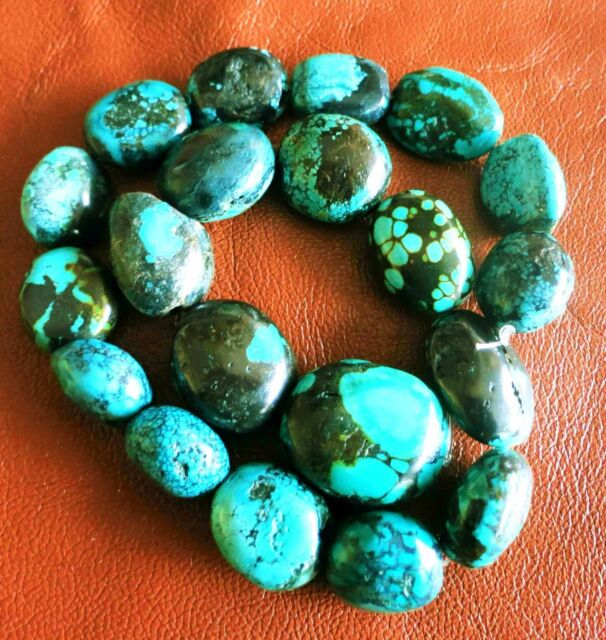 JUMBO NATURAL HUBEI TURQUOISE OVAL NUGGET BEADS GREAT COLORS MATRIX TO 27mm