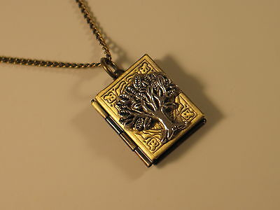 STEAMPUNK TREE OF LIFE BOOK LOCKET Pendant Chain Necklace - Wiccan Pagan