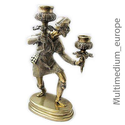 Angemessen Figürlicher Kerzenleuchter Messing Bronze Historismus Stil Brass Candle Holder