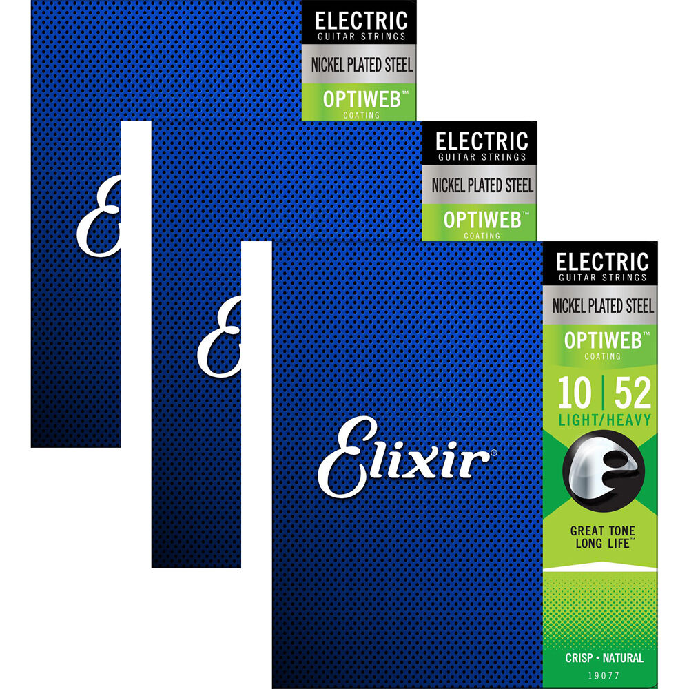 3 Sets of Elixir 19077 Electric Guitar Strings OPTIWEB Coating  Light Heavy 10-52  sell like hot cakes