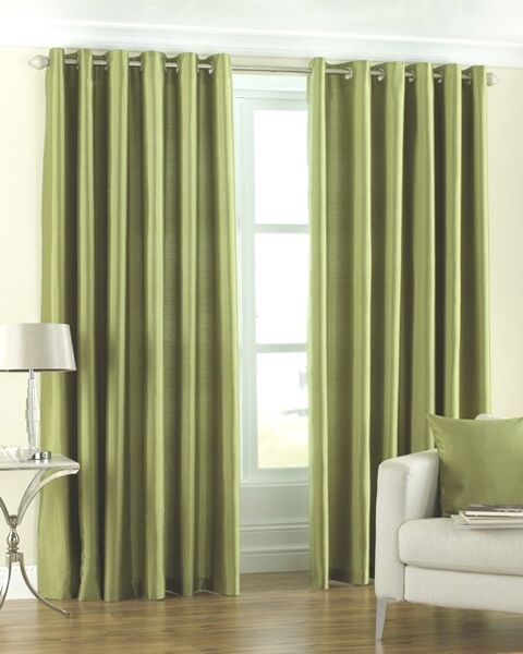 Homefab India Royal Silky Green Curtain with Metal Eyelets (HF041)