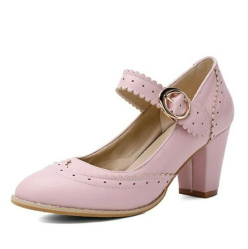Details about  /Ladies Block Heels Wing Tips Buckle Strap Brogue Mary Janes Lolita Shoes 34-48