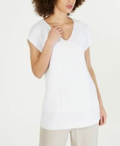 Eileen-Fisher-Womens-Sweater-Top-White-Size-XS-Knit-V-Neck-Cap-Sleeve-228-592