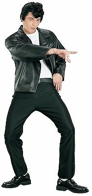Adult 50s Black Greaser Grease Danny Zuko Jacket Costume Halloween One Size