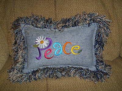 Hippie, Bohemian PEACE DAISY DENIM JEAN PILLOW, Gypsy, Upcycled, Shabby
