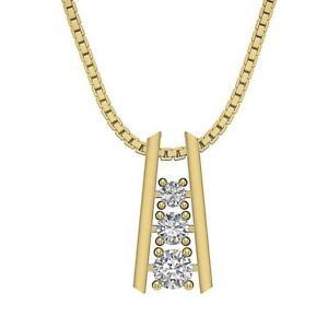 Journey-Pendant-Natural-Diamond-I1-G-0-65-Ct-Necklace-Prong-Set-14K-Yellow-Gold