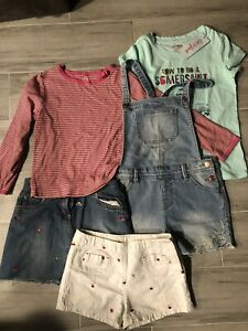 Lot-of-5-Girls-Tops-amp-Shorts-Skirt-Shortalls-Jacadi-Talbots-Carters-Sz-6