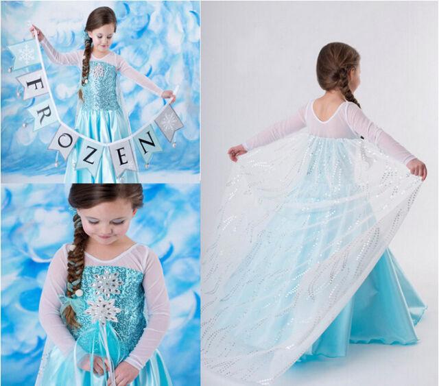 Frozen Princess Elsa Anna Queen Costume Party Dress Kids Girl Cosplay Gown Dress