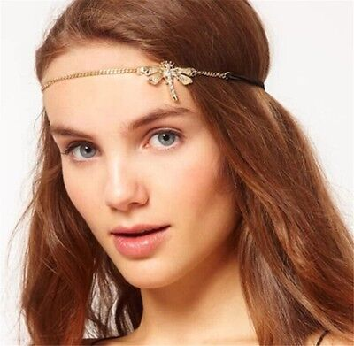 Ethnic Tribal 18K Gold Rhinestone Dragonfly Elastic Stretch Band Hair Headband