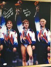 Dominique Moceanu & Keri Strug signed 16x20 Magnificent 7 Olympic Gold medal JSA